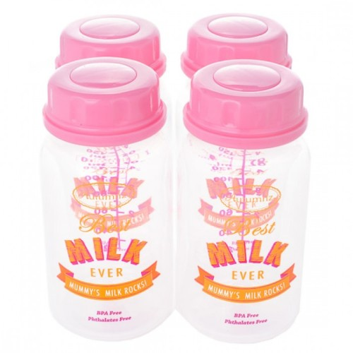 Autumnz Breastmilk Storage Bottles - Pink Best Milk Ever - (4 bottles)