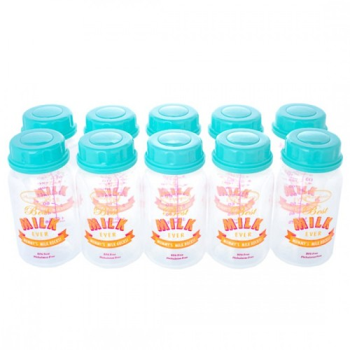 Autumnz Breastmilk Storage Bottles - Turquoise Best Milk Ever - (10 bottles)