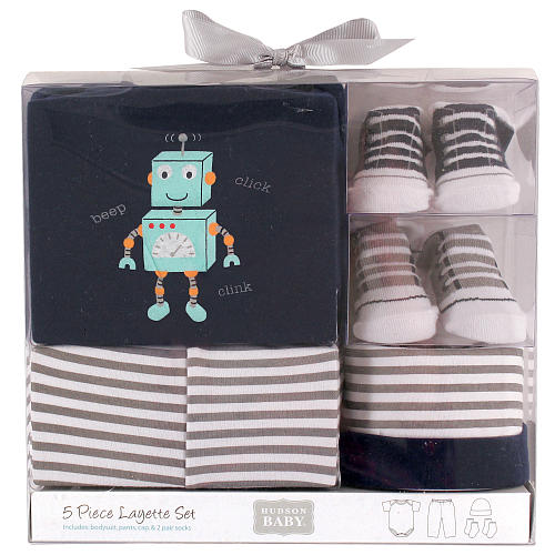 Hudson Baby Newborn 5-Pieces Clothing Gift Set - Robot