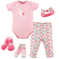 Hudson Baby Newborn 5-Pieces Clothing Gift Set - Llama
