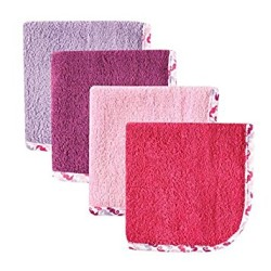 Hudson Baby Woven Washcloth Girl - Pack of 4 - Pink
