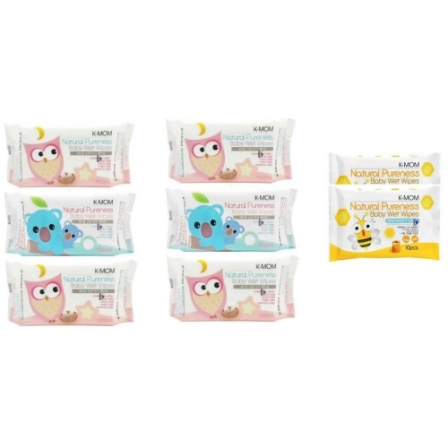 K-MOM Natural Pureness Baby Wet Wipes - 100pcs* 6 + FREE 10 pcs wet tissue 2 packs