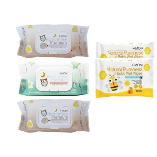 K-MOM Naturefree Organic Premium Wet Wipes 100pcs x 3 packs + FREE  2Packs 10pcs wet tissues