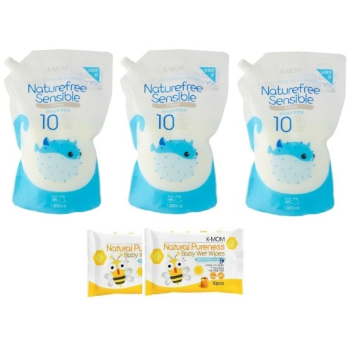 K-MOM Natural Sensible Baby Fabric Softener Refill (1300ml) * 3 Packs + Free 10pcs Wet Tissue * 2 Packs