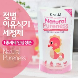 K-MOM Natural Pureness Feeding Bottle Cleanser Refill (500ml) * 3 Packs + Free 10pcs Wet Tissue * 3 Packs